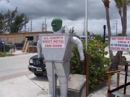 Custom tin man from  sheet metal couplings all county sheet metal