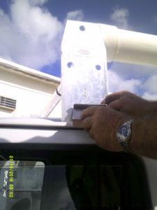 Metal Fab attachment for ladder rack on a van from all county sheet metal in lake worth.